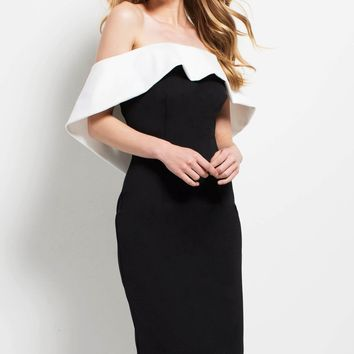 Black And White Off Shoulder Bandage Dress