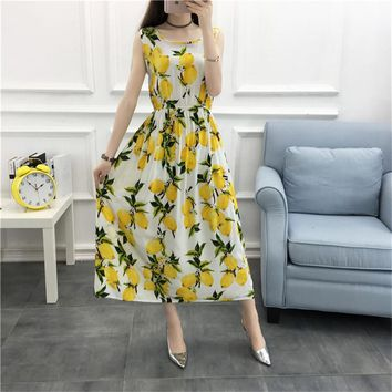 Bohemian Lemon Beach Dress Women 2017 Summer Cotton Maxi Tank Dress Sleeveless Sundress Plus Size 4XL Long Dresses Robe C3444