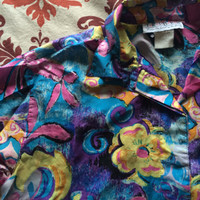 Vintage Floral Print Polyester Button Up Shirt