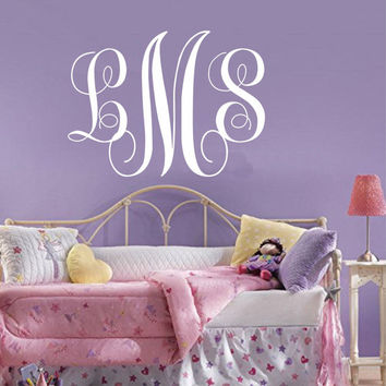 Monogram Wall Decal,Personalized Initials,College Dorm Room ,Monogrammed Wall Vinyl Decal,Custom Monogram ,Family Monogram