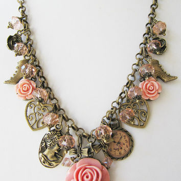 Chunky peach charm necklace, charms, crystal, vintage style jewelry, beaded, gift for her, Europe