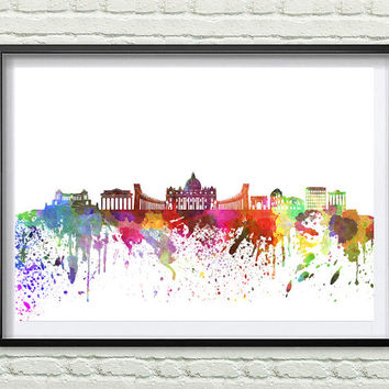 Rome Skyline Print, Watercolor Art, Rome Art, City Poster, City Skyline, Wall Art, Cityscape, Home Decor *15*
