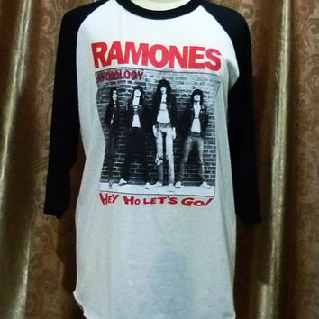 Tshirt Baseball Tee Ramones anthology T Shirt Baseball Tee hey ho let's go Shirt Raglan Long Sleeve T-Shirt Unisex Men Wome Baseballn Size M