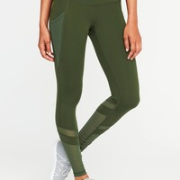 Mid-Rise 7/8-Length Mesh-Panel Compression Leggings for Women |old-navy