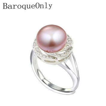 BaroqueOnly 9-10mm Natural Freshwater Pearl Rings for Girlfriend Nice Adjustable Wedding Ring, Bread Round White Pink Purple