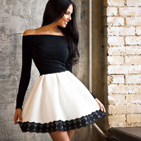 Black and White Off Shoulder Long Sleeve with Lace Skater Dress