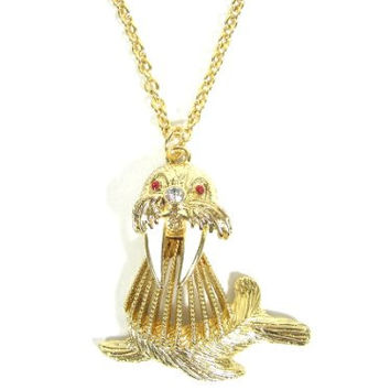 Arctic Walrus Necklace Crystal Seal NE15 Gold Tone Tusked Sea Lion Charm Pendant Fashion Jewelry