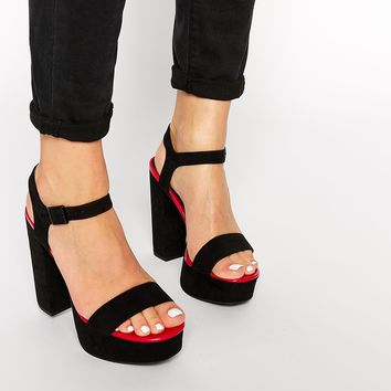 New Look Ripple Black & Pink Platform Heeled Sandals