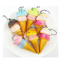 New Cute Soft Jumbo Ice cream Squishy Cellphone Kawaii Charms Straps Gifts LSOZ