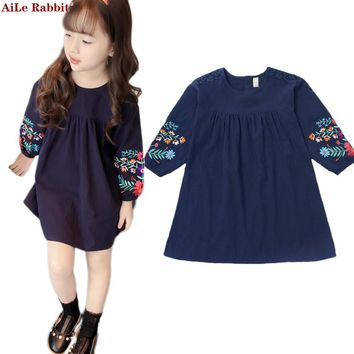 Girls Dresses Autumn 2017 New Korean Princess Dresses Big Children National Style Long Sleeve Dolls Children dress