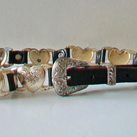 Nadim Southwestern Etched Heart Belt Western Leather Accessories Cowgirl