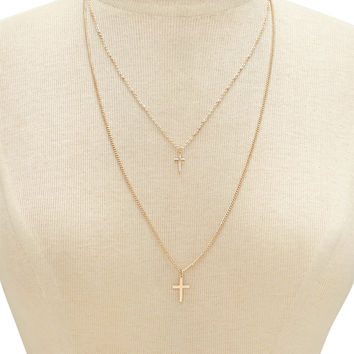 Cross Pendant Layered Necklace