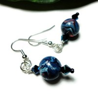 Earrings Polymer Clay Crystal Surgical Steel Hypo Allergenic Blue