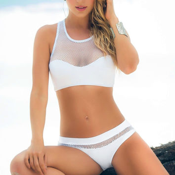 Sexy Swimwear Women's Beach Wear Bikini Set Push up Padded Bra Swimsuit White Hollow out Bathing suits Maillot De Bain Biquini -0401