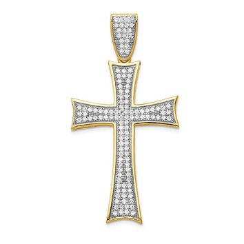 14k Yellow Gold Micro Pave CZ Large Maltese Cross Pendant, 25 x 52mm