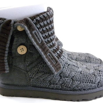 UGG Australia Original Leland Gray Knit Calf High Boots Womens Shoes 1000464