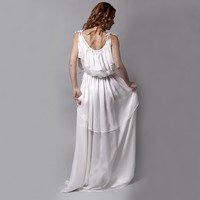Silk chiffon and satin frill ancient Greek dress