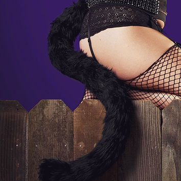 Stunning deep black fur cat tail fully poseable with a wire center