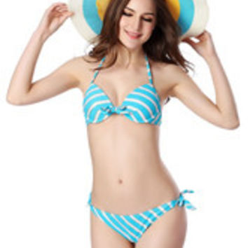 Stripes Print Bikini Push Up Spandex Swimsuit