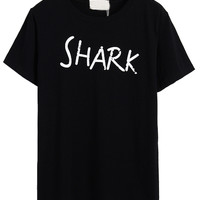 Black Shark And Letter Print Short Sleeve T-shirt