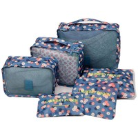 6 Pieces/Set Nylon Packing Cubes 2017 Luggage Travel Bag Floral Dot Large Capacity Of Bags Unisex Clothing Sorting Organize Bag