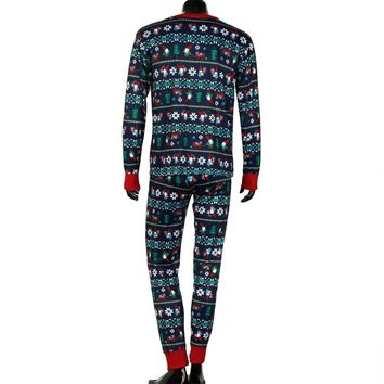 Xmas Man Long Sleeve Family Pajamas Set Dad Sleepwear Nightwear Pyjamas Gift