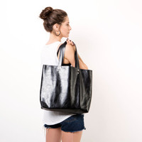 Bleack leather tote, Leather bag, Laptop bag