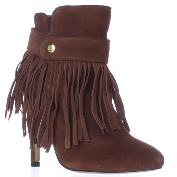 June Ambrose 442761 Fringe Heeled Ankle Boots, Cognac, 6 US
