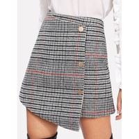 Multicolor Plaid Above Knee Asymmetric Skirt