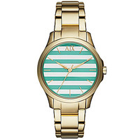 AX Armani Exchange Ladies Goldtone Green Stripe Dial 3-Hand Watch - Go