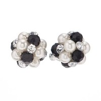 Croft & Barrow® Silver Tone Simulated Pearl & Bead & Simulated Crystal Cluster Stud Earrings