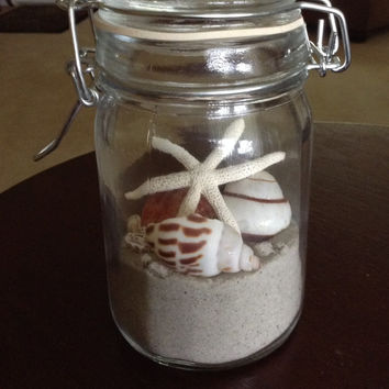 Beachfront property, beach in a bottle, shells and starfish in a bottle, glass bottle with shells, wedding tablet decor