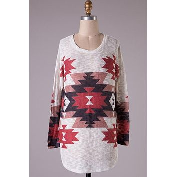 Aztec Tunic Sweater - Burgundy