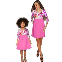 Orchid Caprice Gloria Empire Waist Floral Mommy and Me Dresses