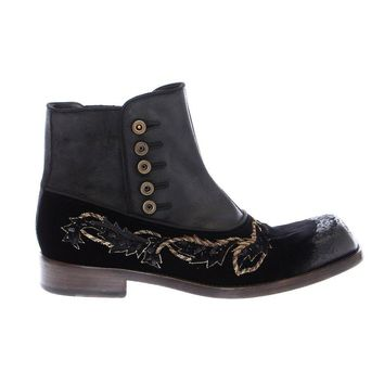 Dolce & Gabbana Black Leather Gold Baroque Boots Shoes
