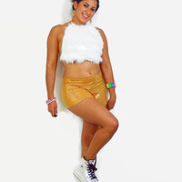 White Fur halter top and gold shorts / exotic wear / sexy top / EDC outfit / booty shorts