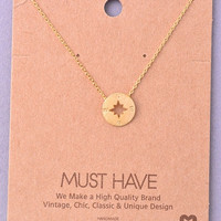 Dainty Compass Charm Necklace - Gold, Silver or Rose Gold