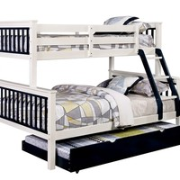 Corrin collection Twin over Full blue and white finish wood bunk bed with twin trundle pull out