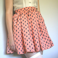 Handmade Pink Kitty Pattern High Waisted Gathered Mini Skirt with Pockets S M