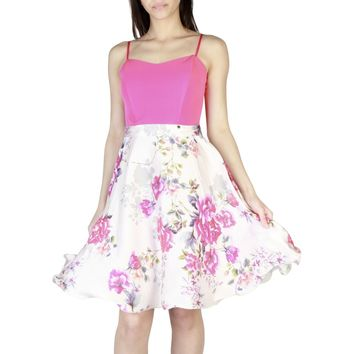 "Women's Pink Floral Print ""Rinascimento"" A-Line Skirt"