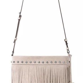 New Michael Kors Billy Suede Fringe Medium Convertible Shoulder/Crossbody Bag