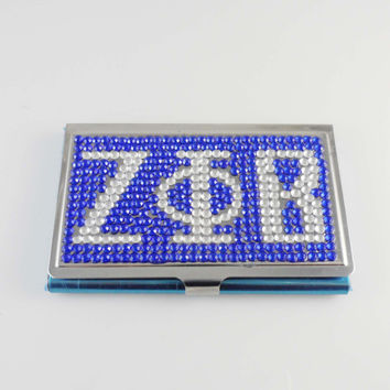 ZETA PHI BETA Sorority Crystal Card Case Holder