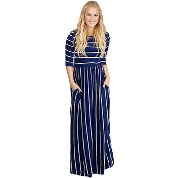 Z| Chicloth Navy White Striped Casual Pocket Style Maxi Dress