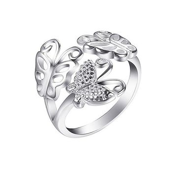 New Fashion Silver Plated Jewelry Rings Women Finger Adjustable Rings Flower Butterfly Rings