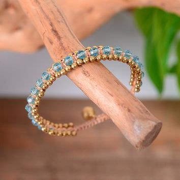 Crystal Beads Bracelets for Women Charm Bead with Cute Bell - Bohemia Jewelry Party Gift 4 colors
