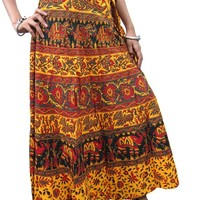 Women Wrapskirt Boho Indi Clothing Cotton Wrap Skirt Sun Yellow
