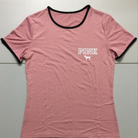 Victoria's Secret PINK Fashion Gold Logo Short Sleeve T-Shirt Top Tee
