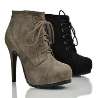 Wenn Almond Toe Lace Up Lugsole Platform Stiletto High Heel Ankle Bootie
