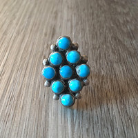 Vintage Native American Blue Turquoise Ring in 925 Sterling Silver, Southwestern Jewelry, US Size 7 (ring sizing available)