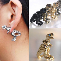2015 Fashion Punk Gothic Personality Metal Dinosaur Dragon Ear Clip Cuff Stud Earring New Free Shipping